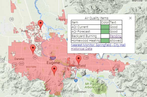 Lane Regional Air Protection Agency OR Official Website - Map of jasper oregon